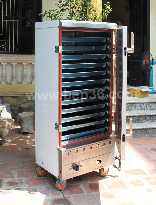 Bên trong tủ nấu cơm 12 khay gas điện TCGD12 Plus