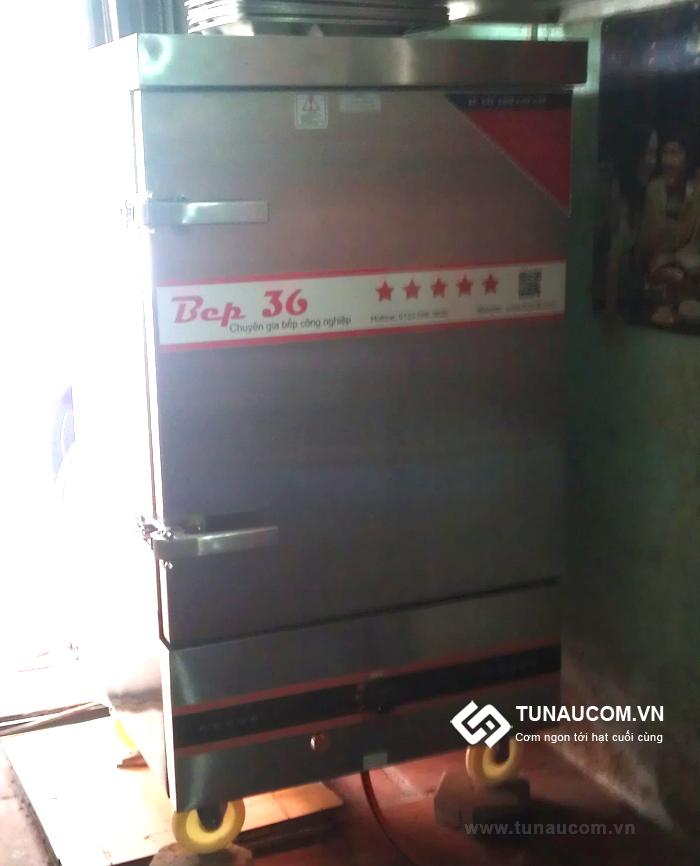Tủ nấu cơm gas 8 khay lắp đặt tại quán cơm