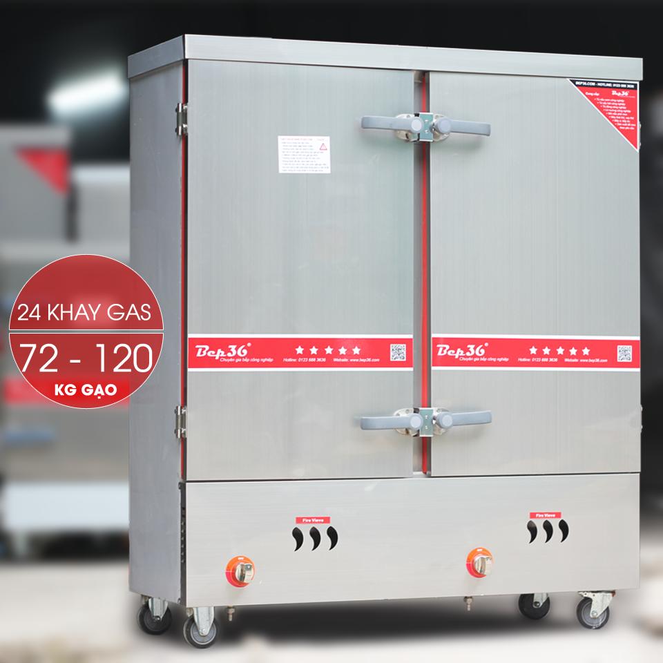 Tủ nấu cơm công nghiệp 24 khay dùng gas TCG24-2018