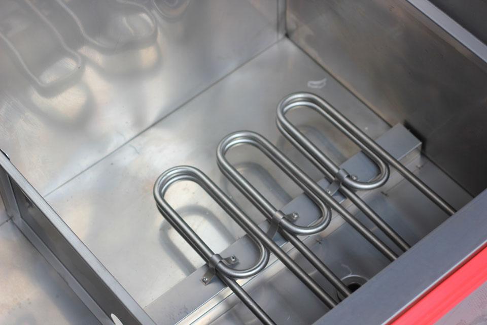 Thanh nhiệt trong tủ nấu cơm công nghiệp dùng điện nhỏ gọn nhưng hiệu suất cao hơn các dòng tủ nấu cơm thế hệ trước