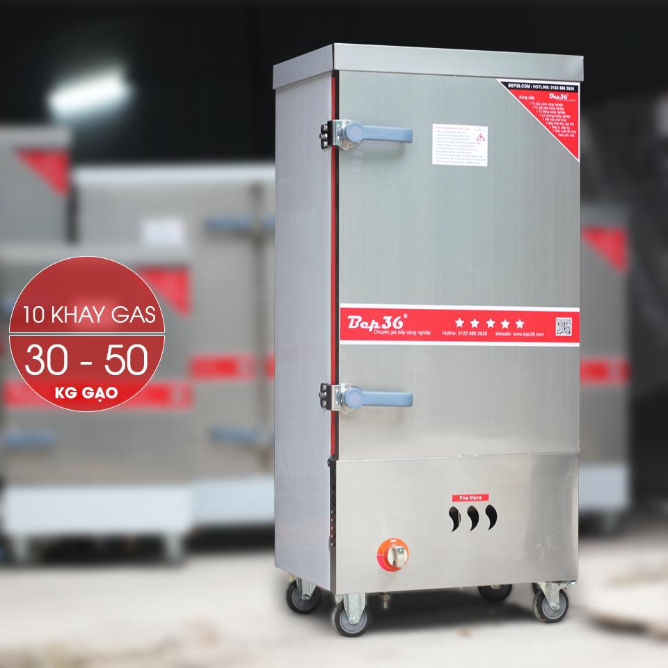 Tủ nấu cơm công nghiệp 10 khay dùng gas TCG10-2018