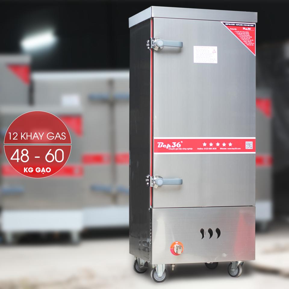 Tủ nấu cơm công nghiệp 12 khay dùng gas TCG12-2018