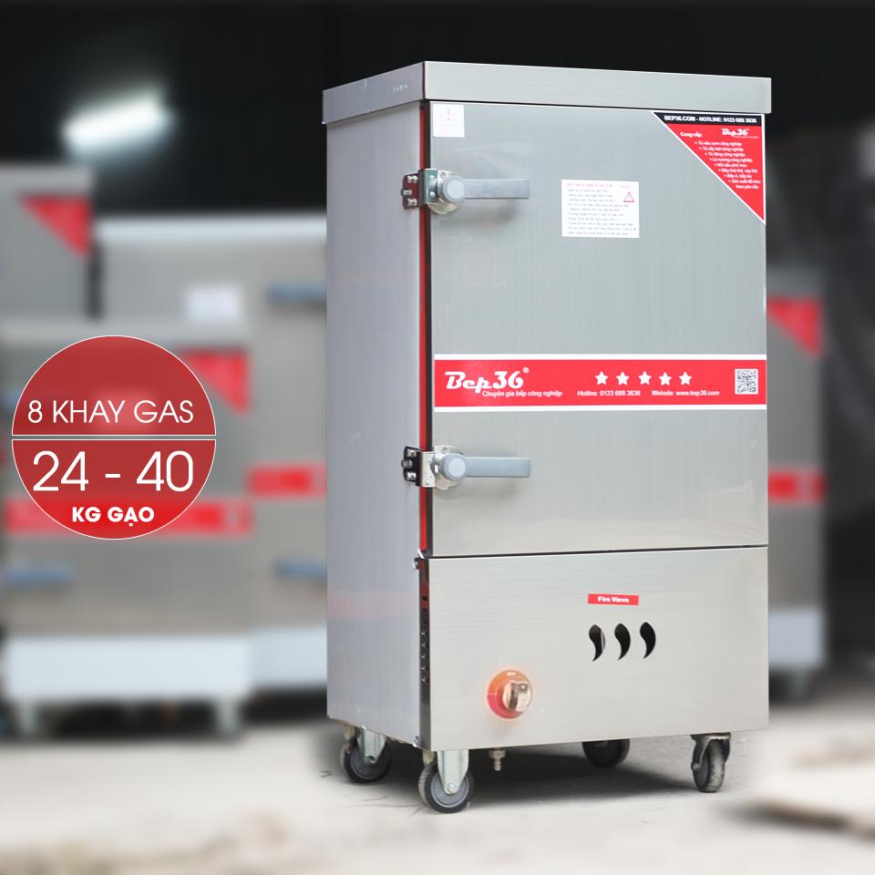 Tủ nấu cơm công nghiệp 8 khay dùng gas TCG8-2018