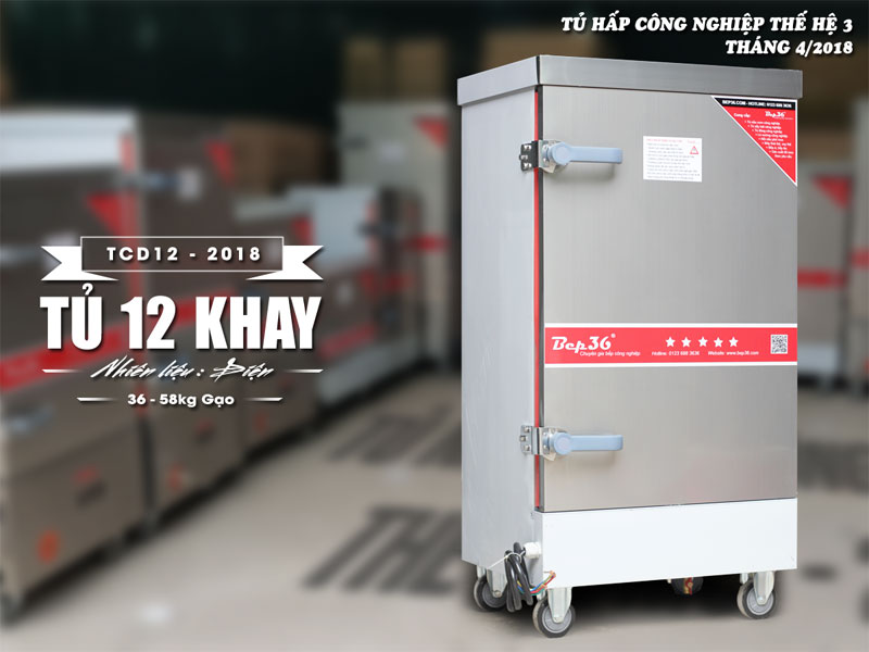 Tủ nấu cơm 12 khay dùng điện 2018