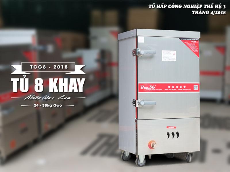 Tủ nấu cơm 8 khay dùng gas thế hệ 2018